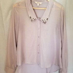 Decree Sheer Long Sleeve Button Up Top